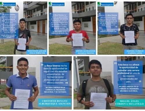 BECAS SINERSA: Cinco nuevos beneficiarios inician estudios en la UDEP